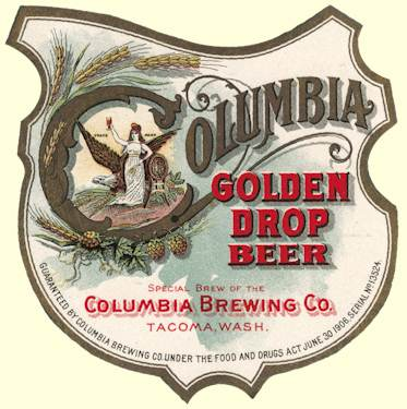 Columbia Bgr. Co. Golden Drop Beer label