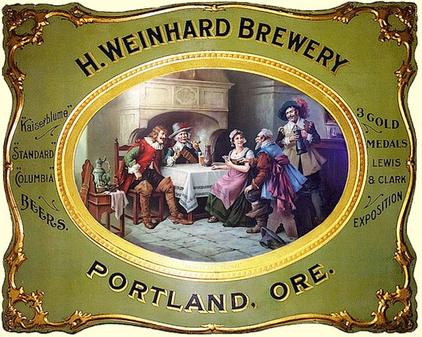 H. Weinhard embossed tin sign