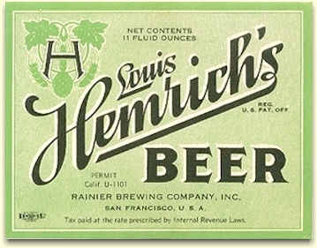 Louis Hemrich's Beer label, c.1934 - image