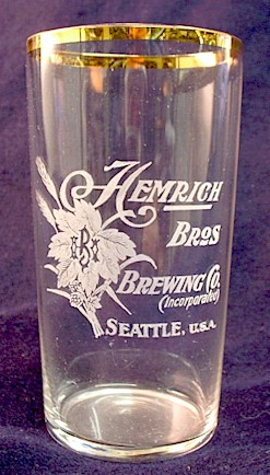Hemrich Bros. etched beer glass - image