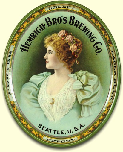 Hemrich Bro's Brewing Co. oval beer tray - image