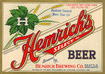 Hemrich's Select 1933 beer label - image