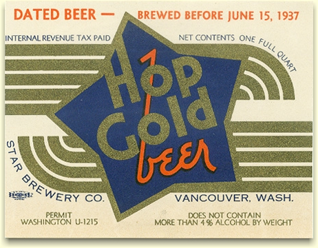 Hop Gold Beer label June 1937 - image