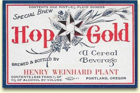 Weinhard Plant near-beer label - Hop Gold