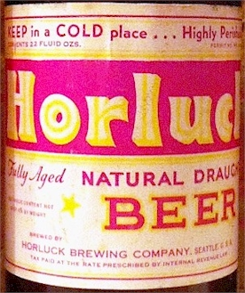 Horluck Draught Beer label, 22 oz.