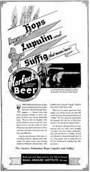 Horluck's Danish Draught Beer ad Aug. 1933 - image