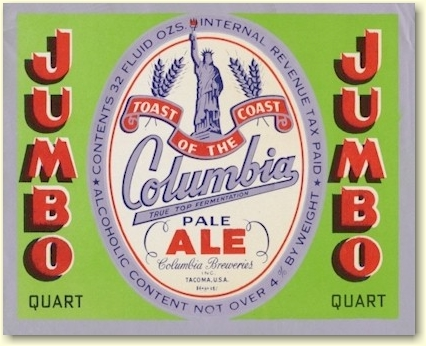 Columbia Ale label 32 oz. - image