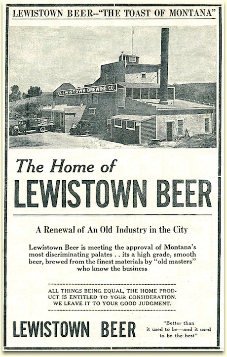Lewistown Brewery ad c.1934