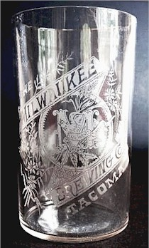 etched glass from Tacoma's Milwaukee Brewery