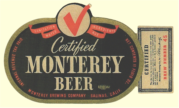 Certified Monterey Beer label, c.1938 - image
