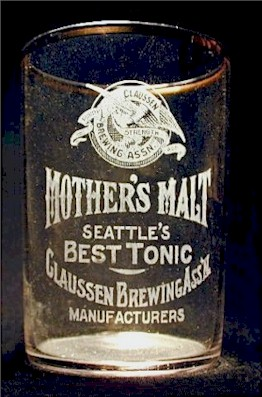 "Claussen's ""Mother's Malt"" tonic glass, c.1908 - image"