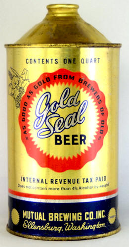 Gold Seal Beer, 32 oz. cone top can, Mutual BC of Ellensburg