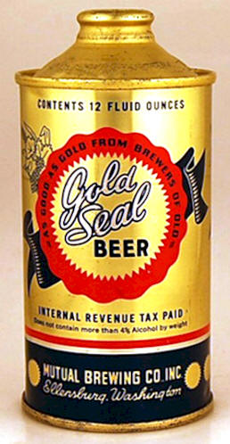 Gold Seal Beer, 12 oz. cone top can, Mutual BC of Ellensburg