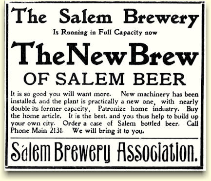 Salem Brewery ad, ca. oct. 1903