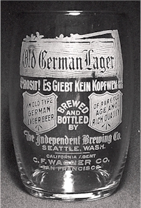 Old German Lager etched beer glass - SF agent
