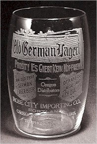Old German Lager glass from Rose City