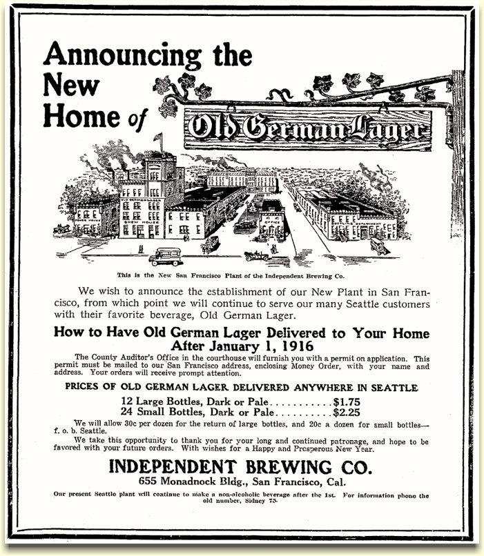 Announcement for new SF plant Dec. 1915