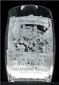 1st Old German Lager etched beer glass