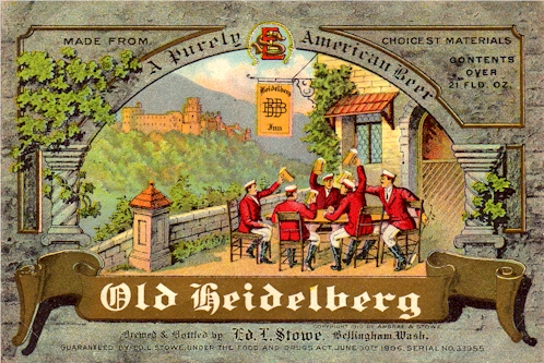 Old Heidelberg beer label, c. 1912 - image