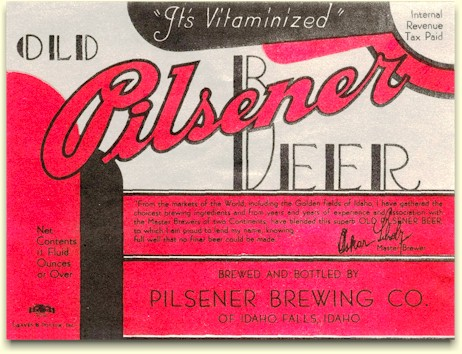 Old Pilsener Beer label from Idaho Falls