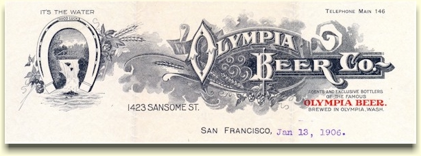 Olymbia Beer Co. letterhead, c.1906