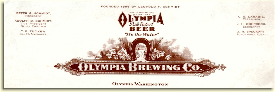 Olympia Brewing Co. 1934 letterhead - image