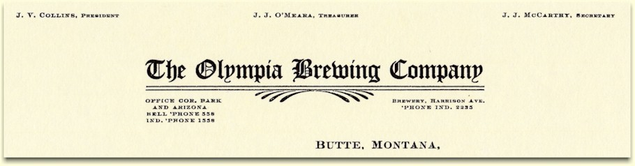Olympia Brewing Co. letterhead c.1909