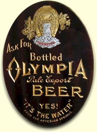 Olympia Beer ROG sign in black & gold