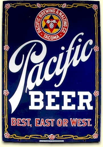porcelain Pacific Beer sign