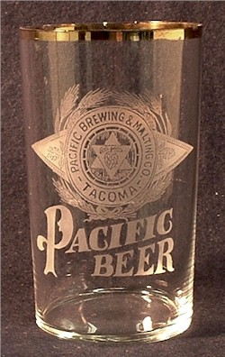 Early Pacific etched beer glass - image