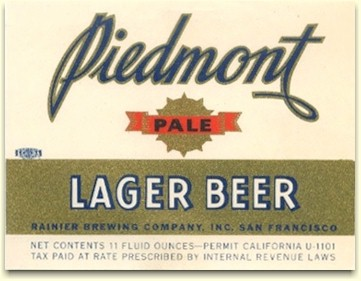 Piedmont Pale Lager Beer label, c.1934 - image