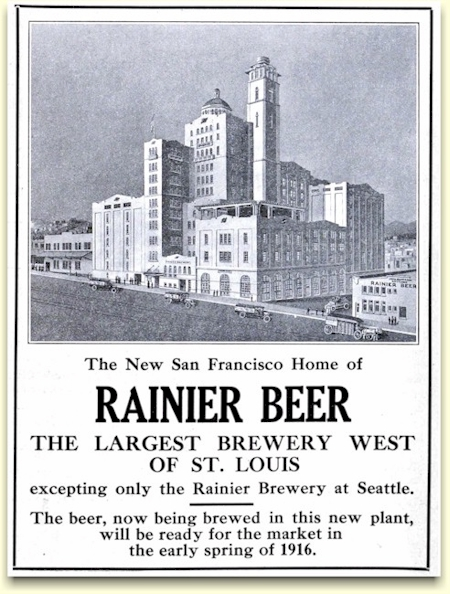 1915 ad announcing new Rainier Brewery in SF