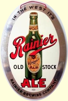 Rainier Old Stock Ale aluminum sign, c.1938 - image