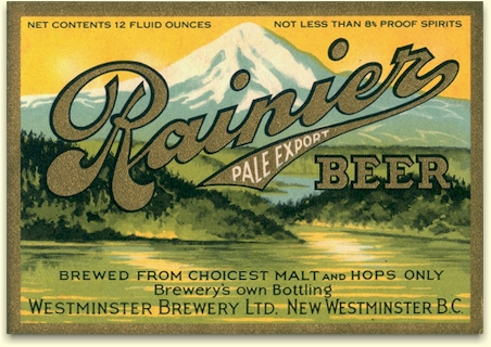Rainier Beer label, New Westminster, B.C.