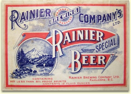 Rainier Brewing Co. beer label Kamloops, BC c.1921 - image