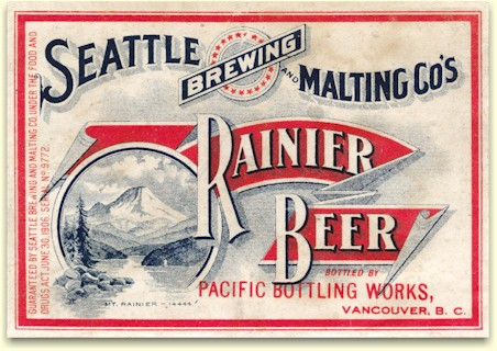 Rainier Beer label from the Pacific Bottling Works of Vancouver, B.C.