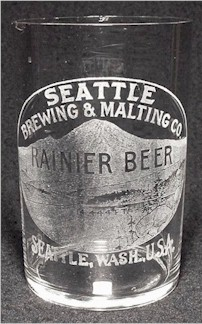 Rainier Beer, paneled etched beer glass, Mt. Rainier - image