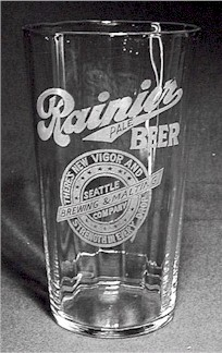 etched & paneled Rainier Beer glass - image