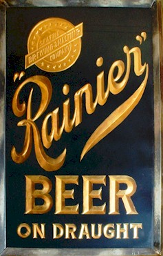 Rainier Beer ROG sign in black & gold