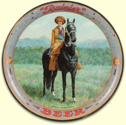 Rainier Beer tray, the Cowgirl - image