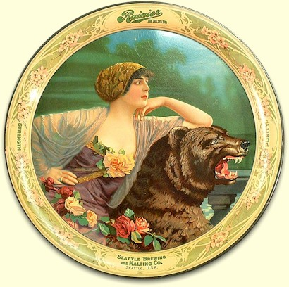 "Rainier Beer tray - ""Lady and the Bear"" c.1913 - image"