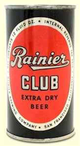 Rainier Club Extra Dry Beer can, c.1947 - image