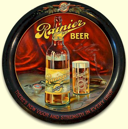 Rainier Beer tray, cigar & cap-lifter