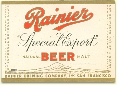 Rainier Special Export Beer label, c.1935 - image