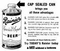 Rainier Special Export cone top beer can, c.1936 - image