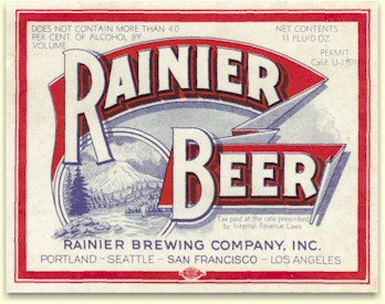 first Rainier Beer label, Apr. '33