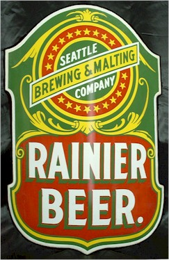 Rainier Beer curved enamel sign