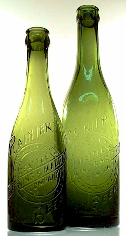 pint and half-pint green beer bottles, c.1903 - image