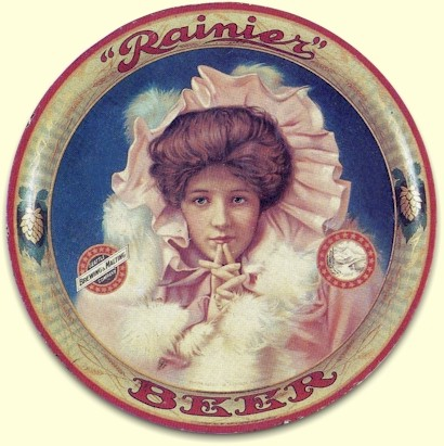 "Rainier Beer tray - ""Evelyn Nesbitt"" - image"