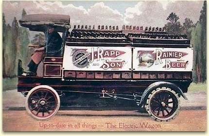 John Rapp & Son electric delivery wagon for Raninier Beer - image